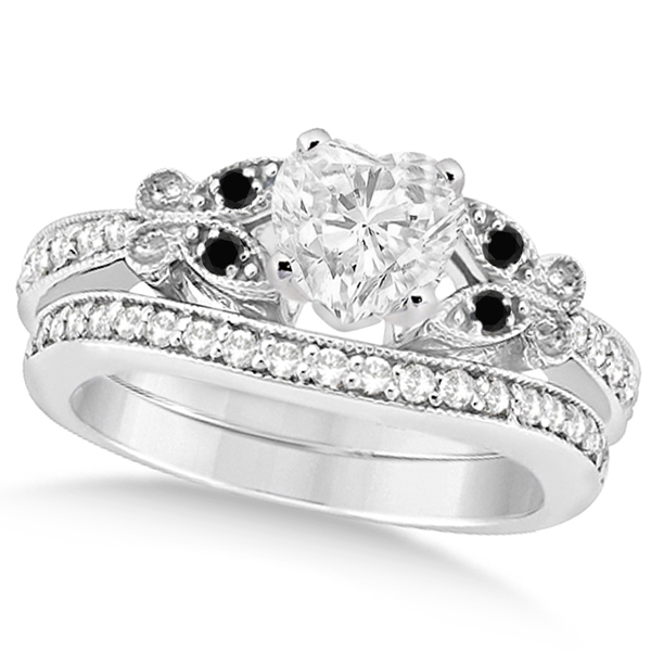 Black & White Diamond Heart Butterfly Bridal Set 14k White Gold 1.21ct