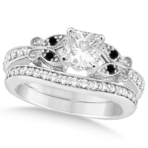 Black & White Diamond Princess Butterfly Bridal Set 14k White Gold 1.71ct