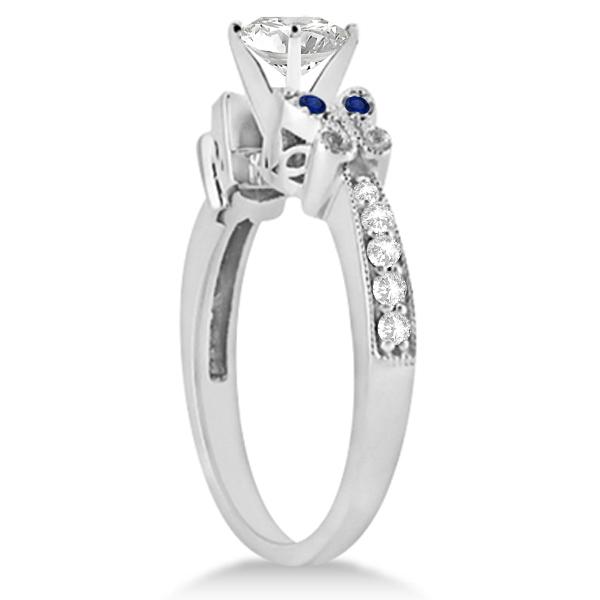 Heart Diamond & Blue Sapphire Butterfly Bridal Set in 14k W Gold (0.71ct)