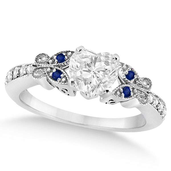 Heart Diamond & Blue Sapphire Butterfly Bridal Set in 14k W Gold (1.21ct)
