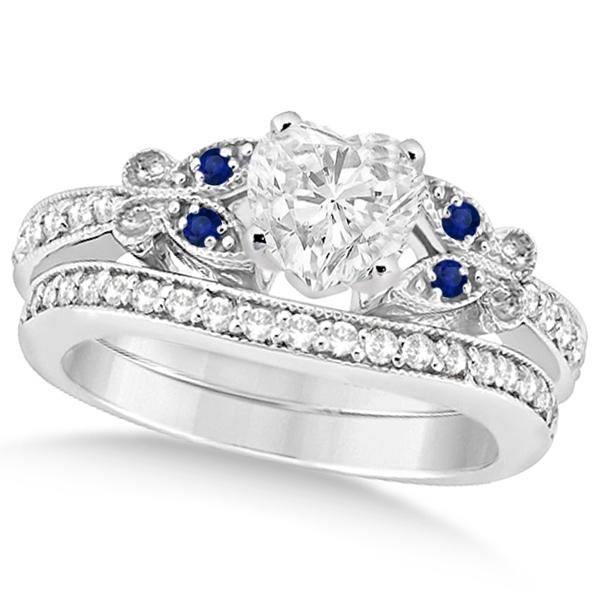Heart Diamond & Blue Sapphire Butterfly Bridal Set in 14k W Gold (1.71ct)