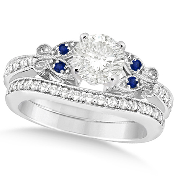 Round Diamond & Blue Sapphire Butterfly Bridal Set in 14k W Gold 1.21ct