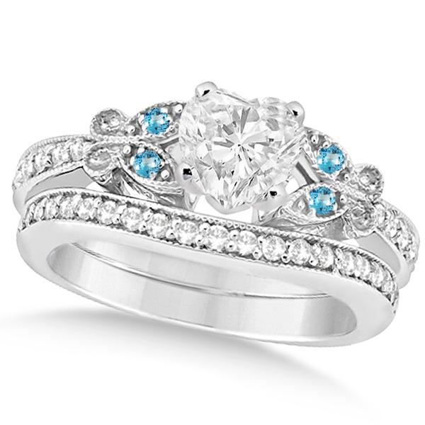 Heart Diamond & Blue Topaz Butterfly Bridal Set in 14k W Gold (0.96ct)