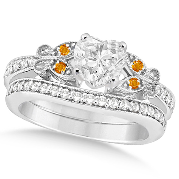 Heart Diamond & Citrine Butterfly Bridal Set in 14k W Gold (1.21ct)