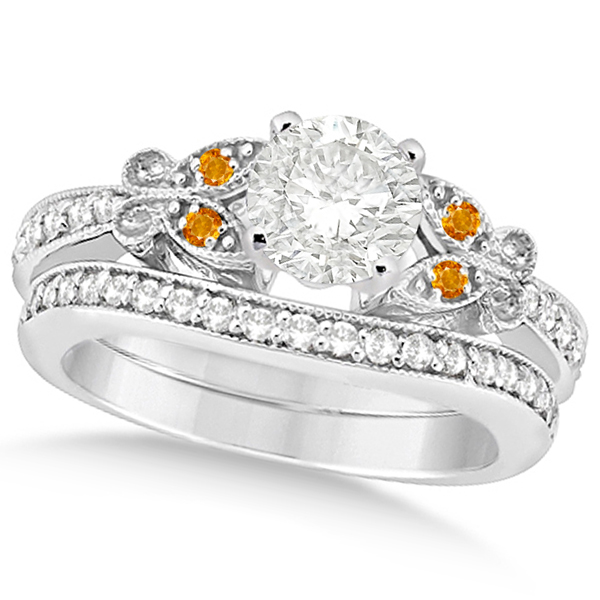 Round Diamond & Citrine Butterfly Bridal Set in 14k W Gold (0.71ct)