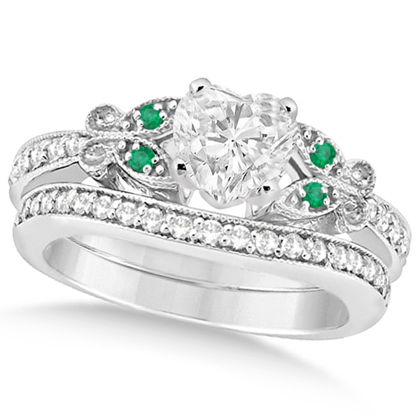 Heart Diamond & Emerald Butterfly Bridal Set in 14k W Gold (1.21ct)