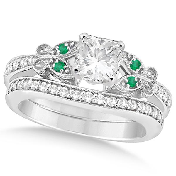 Princess Diamond & Emerald Butterfly Bridal Set in 14k W Gold (1.21ct)