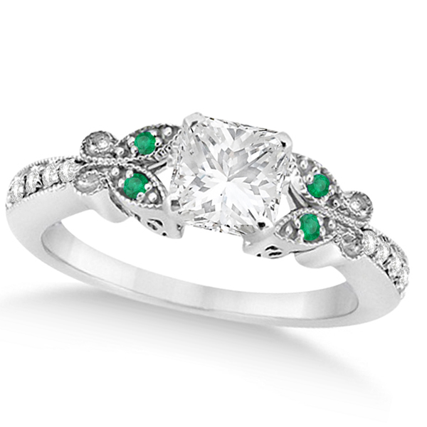 Princess Diamond & Emerald Butterfly Bridal Set in 14k W Gold (1.21ct)