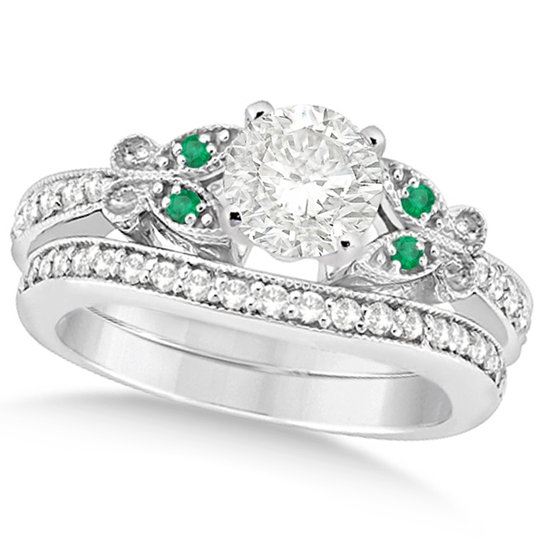 Round Diamond & Emerald Butterfly Bridal Set in 14k W Gold (1.71ct)