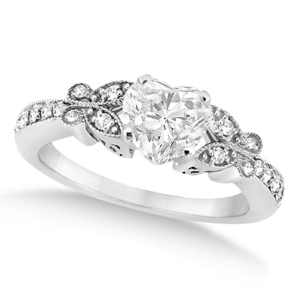Heart Diamond Butterfly Design Bridal Ring Set 14k White Gold (1.70ct)