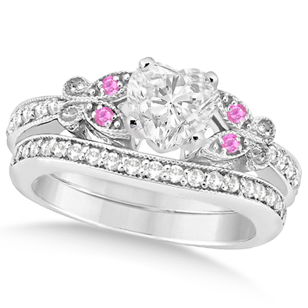 Heart Diamond & Pink Sapphire Butterfly Bridal Set in 14k W Gold (0.96ct)