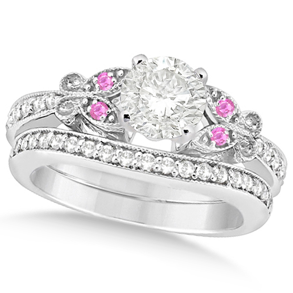 Round Diamond & Pink Sapphire Butterfly Bridal Set in 14k W Gold 0.96ct