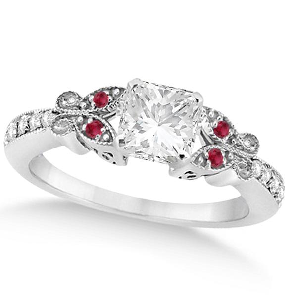 Princess Diamond & Ruby Butterfly Bridal Set 14k White Gold (1.21ct)