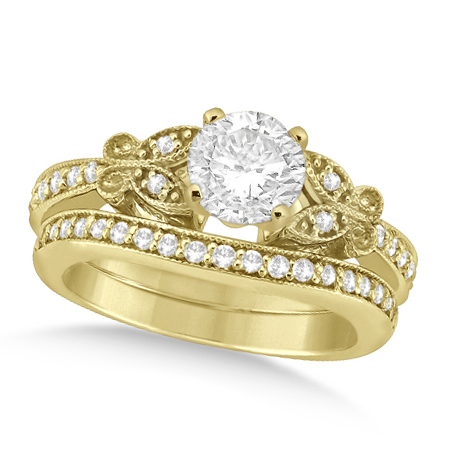 Round Diamond Butterfly Design Bridal Ring Set 14k Yellow Gold (1.70ct)