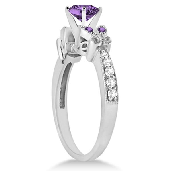 Butterfly Amethyst & Diamond Bridal Set 14k White Gold 1.50ctw