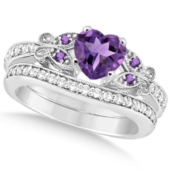 Butterfly Amethyst & Diamond Heart Bridal Set 14k White Gold 2.70ct