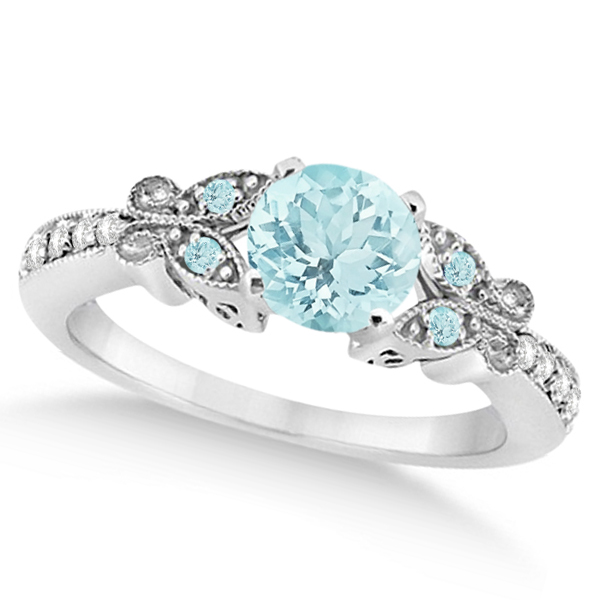 Butterfly Aquamarine & Diamond Engagement Ring 14K White Gold 0.73ct