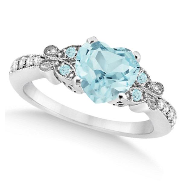 Butterfly Aquamarine & Diamond Heart Engagement 14K White Gold 2.48ct