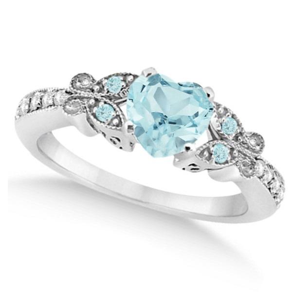 Butterfly Aquamarine & Diamond Heart Bridal Set 14k White Gold 1.55ct