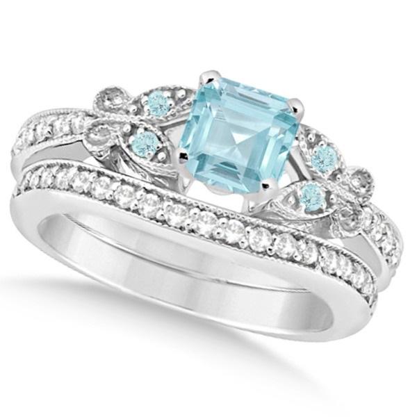 Butterfly Aquamarine & Diamond Princess Bridal Set 14k W. Gold 1.55ct