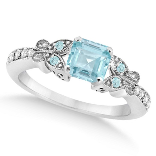 Butterfly Aquamarine & Diamond Princess Bridal Set 14k W. Gold 1.55ct