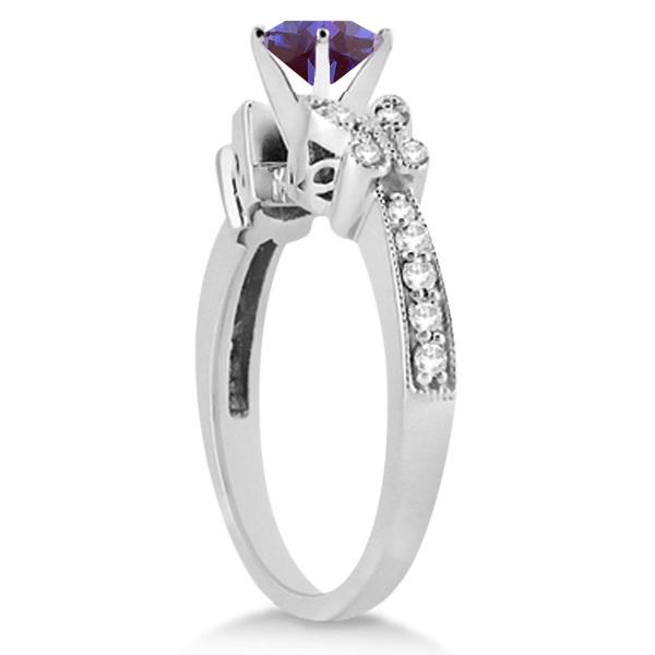 Butterfly Alexandrite & Diamond Engagement Ring 14K White Gold .88ct