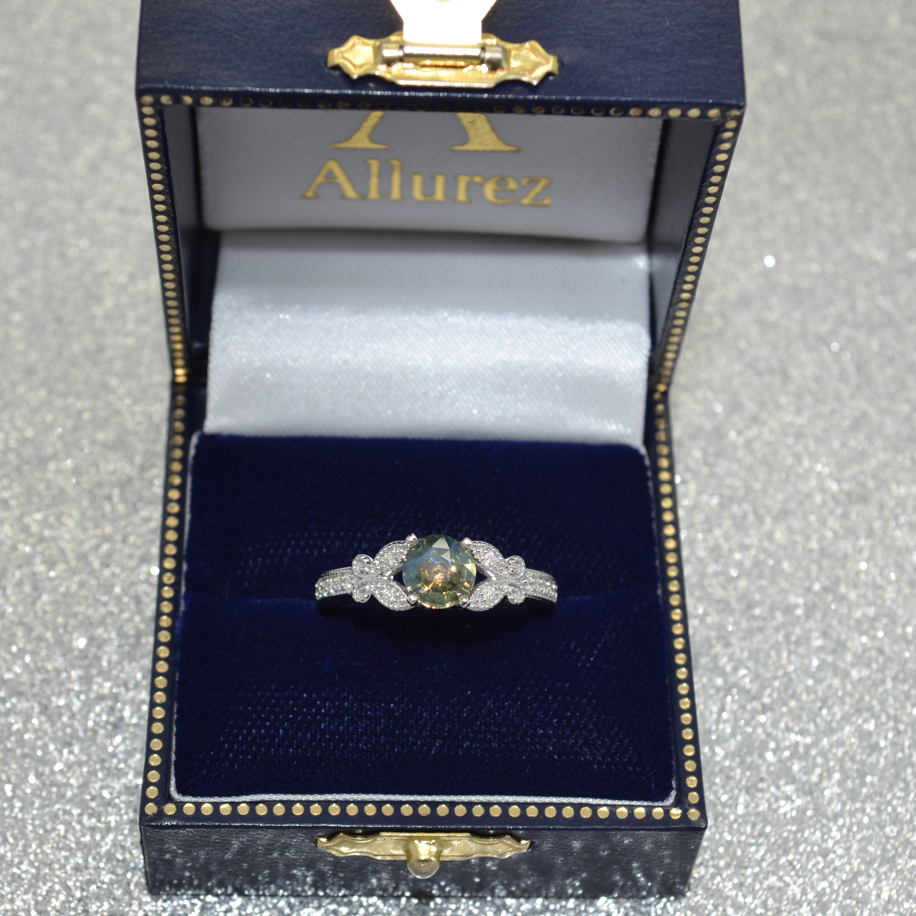 Butterfly Alexandrite & Diamond Engagement Ring 14K W. Gold 1.28ct