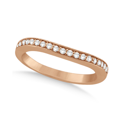 Curved Diamond Wedding Band 14k Rose Gold (0.22ct)