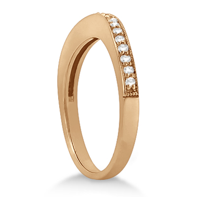 Curved Diamond Wedding Band 18k Rose Gold (0.22ct)