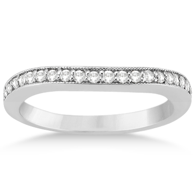 Curved Diamond Wedding Band 18k White Gold (0.22ct)