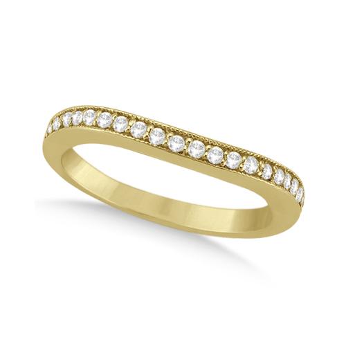 Curved Lab Grown Diamond Wedding Band 14k Yellow Gold (0.22ct)