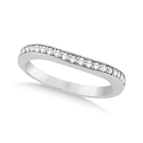 Curved Lab Grown Diamond Wedding Band Platinum (0.22ct)