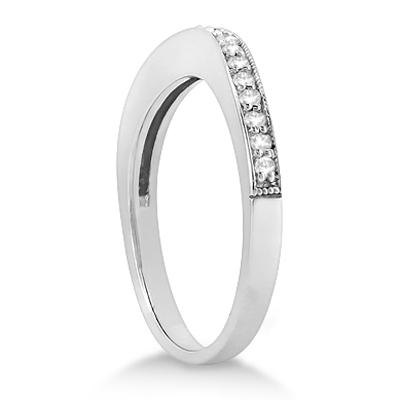 Curved Diamond Wedding Band Palladium (0.22ct)