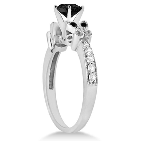 Butterfly White & Black Diamond Engagement Ring 14K White Gold 0.67ct