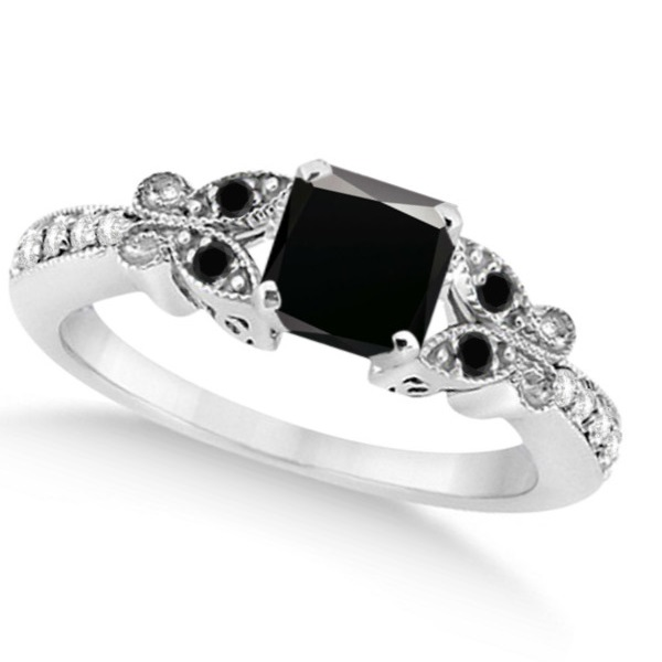 Butterfly Black & White Diamond Princess Engagement 14K W Gold 1.27ct