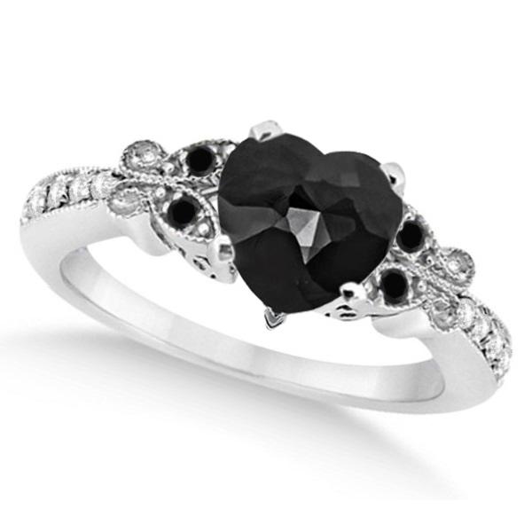 Butterfly Black & White Diamond Heart Engagement Ring 14K W Gold 1.67ct