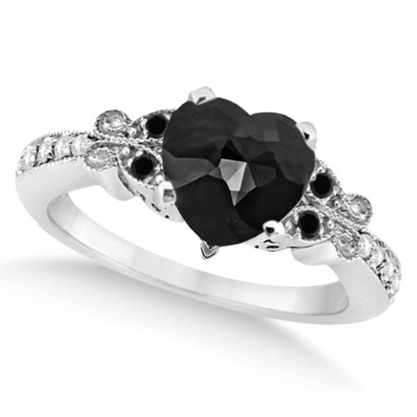Butterfly Black & White Diamond Heart Engagement Ring 14K W Gold 2.42ct