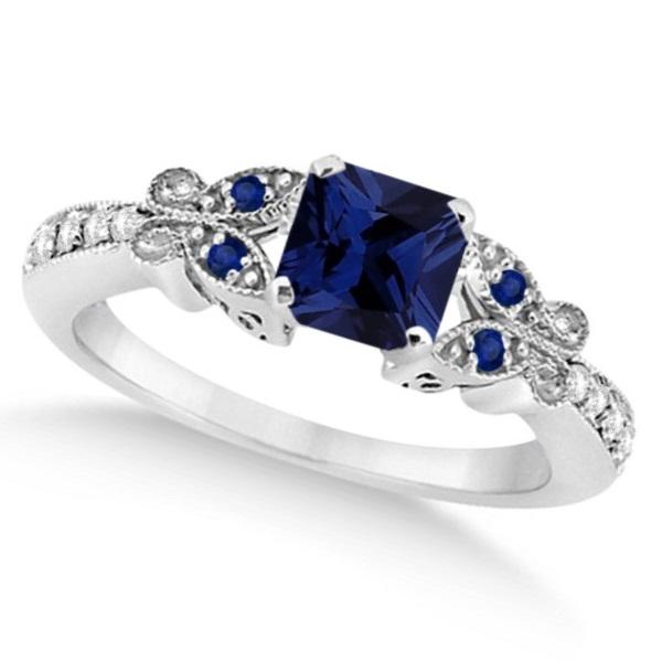 Butterfly Blue Sapphire & Diamond Princess Ring 14K W. Gold 1.33ct