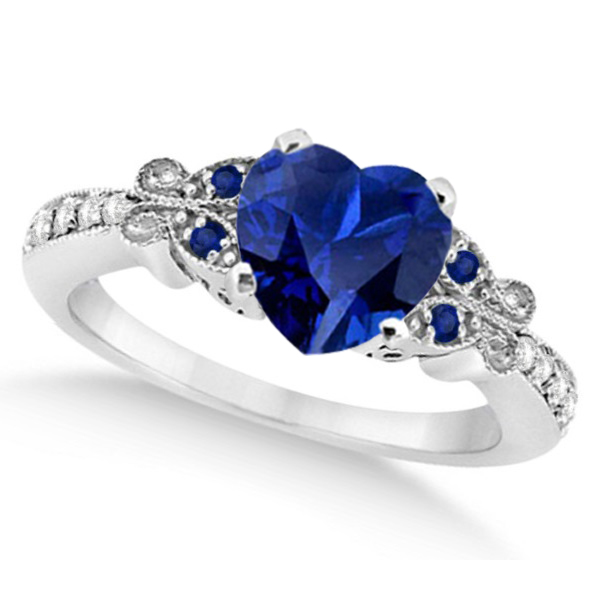 Butterfly Blue Sapphire & Diamond Heart Engagement 14K W Gold 2.48ct