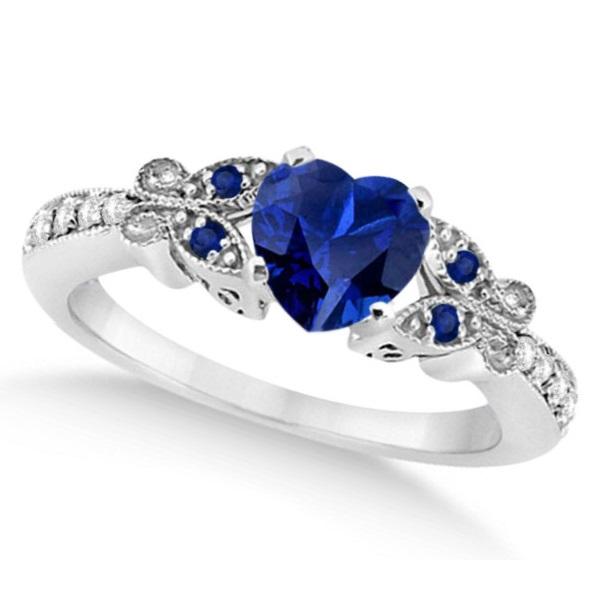 Butterfly Blue Sapphire & Diamond Heart Bridal Set 14k W Gold 1.55ct