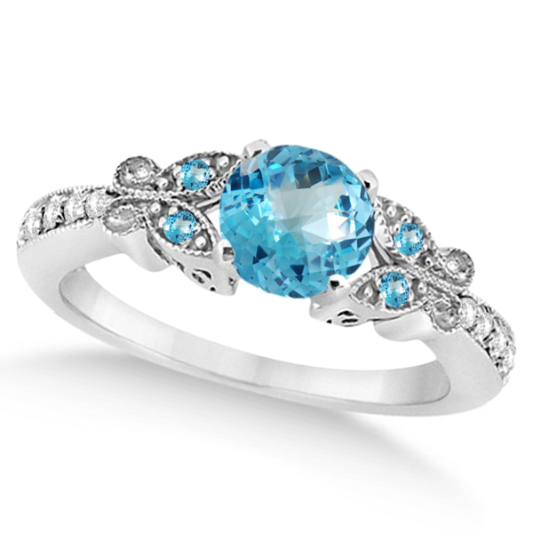 Butterfly Blue Topaz & Diamond Engagement Ring 14K White Gold 1.28ct