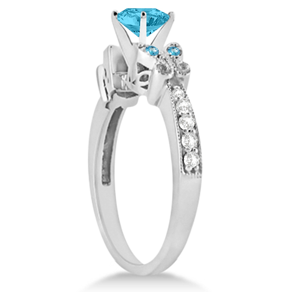 Butterfly Blue Topaz & Diamond Heart Engagement Ring 14K W Gold 1.33ct