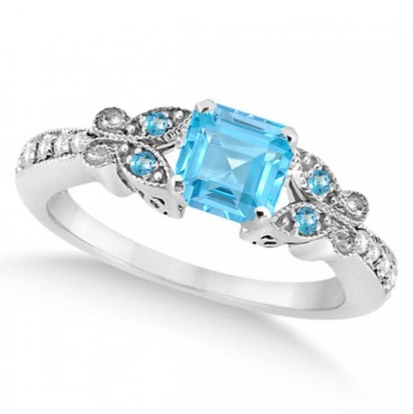 Butterfly Blue Topaz & Diamond Princess Ring 14K White Gold 1.33ct