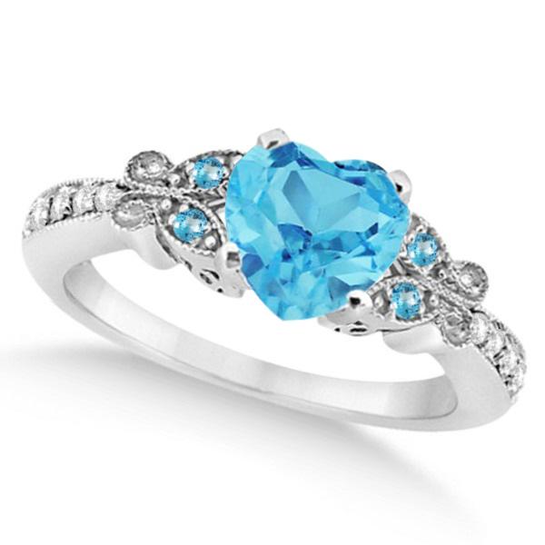 Butterfly Blue Topaz & Diamond Heart Engagement Ring 14K W Gold 1.73ct
