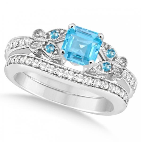 Butterfly Blue Topaz & Diamond Princess Bridal Set 14k W. Gold 1.55ct
