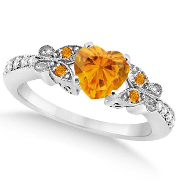 Butterfly Genuine Citrine & Diamond Heart Engagement 14K W Gold 1.33ct