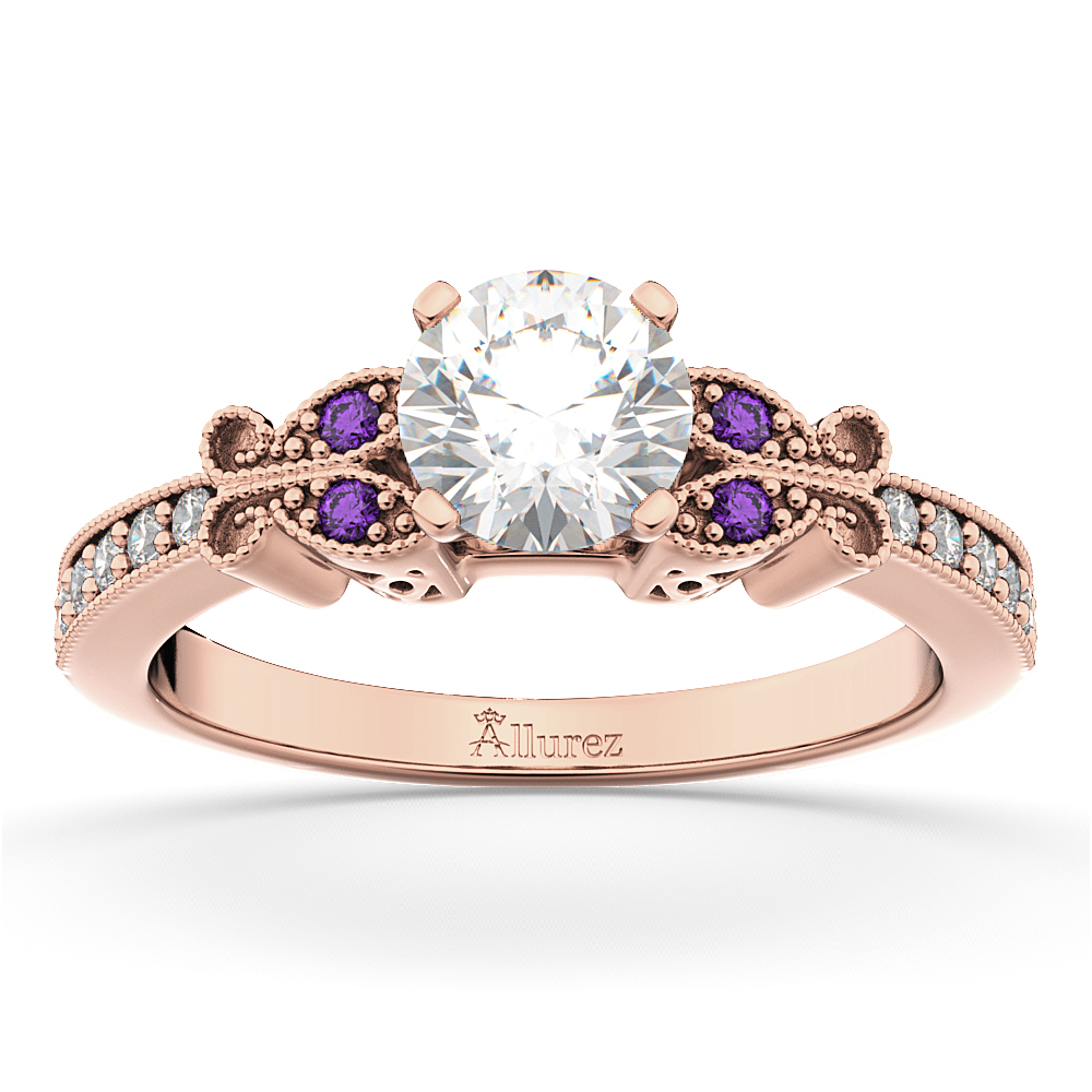 Butterfly Diamond & Amethyst Engagement Ring 14k Rose Gold (0.20ct)