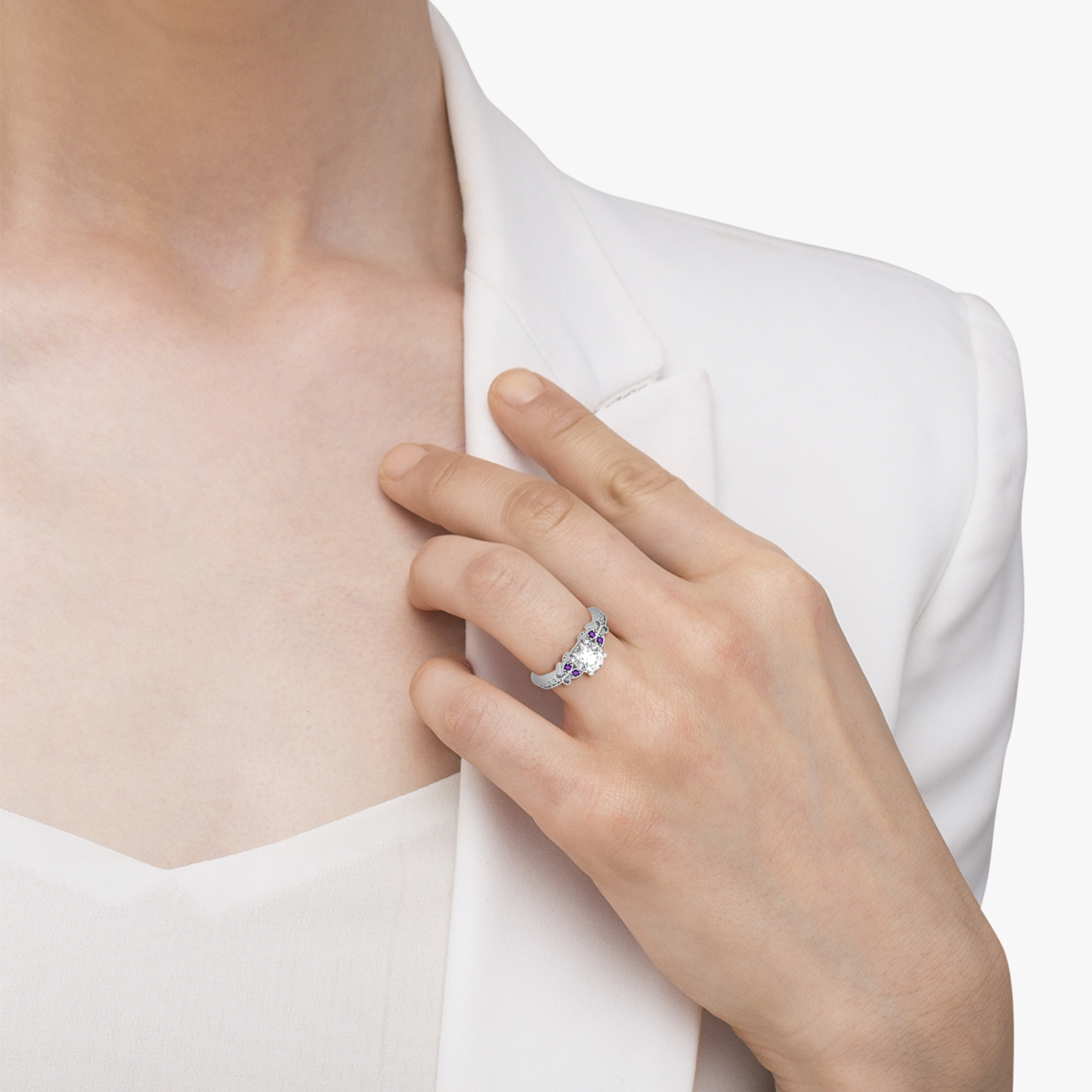 butterfly diamond amethyst engagement ring 14k white gold - Butterfly Wedding Rings