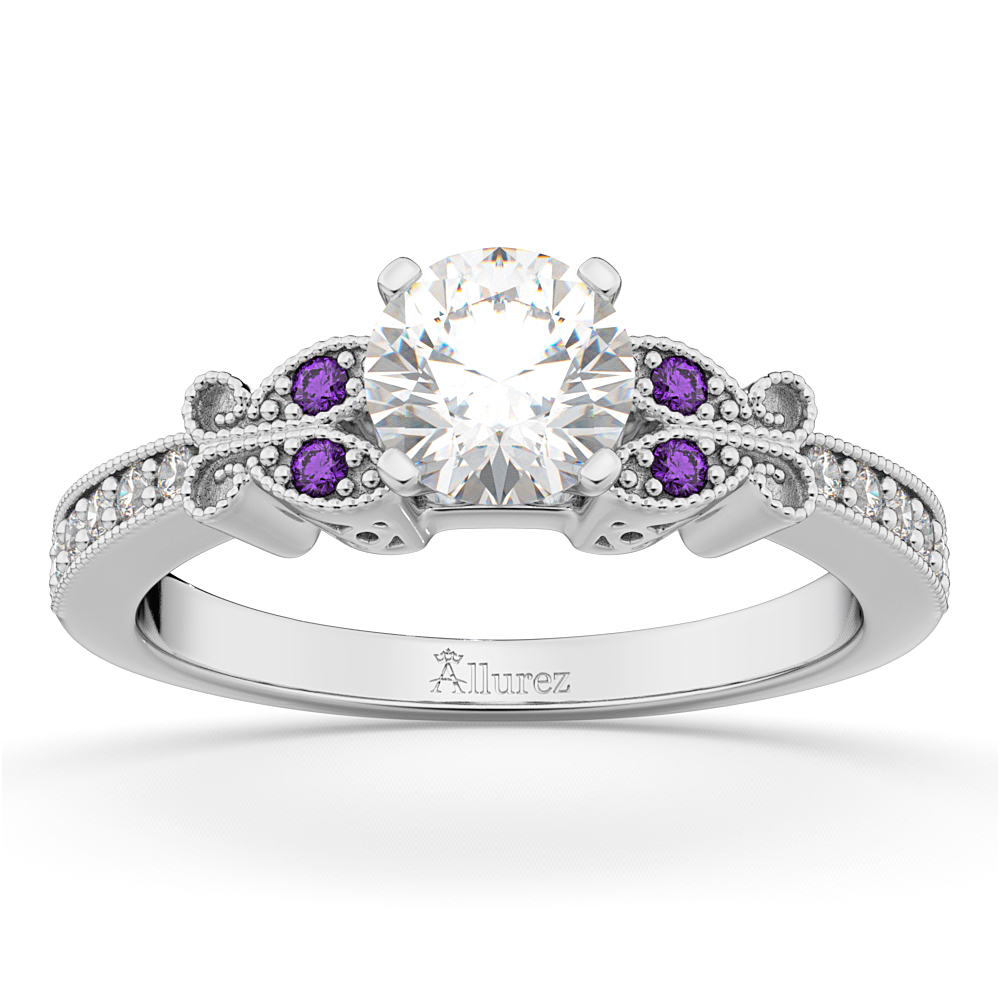 Butterfly Diamond & Amethyst Engagement Ring 18k White Gold (0.20ct)