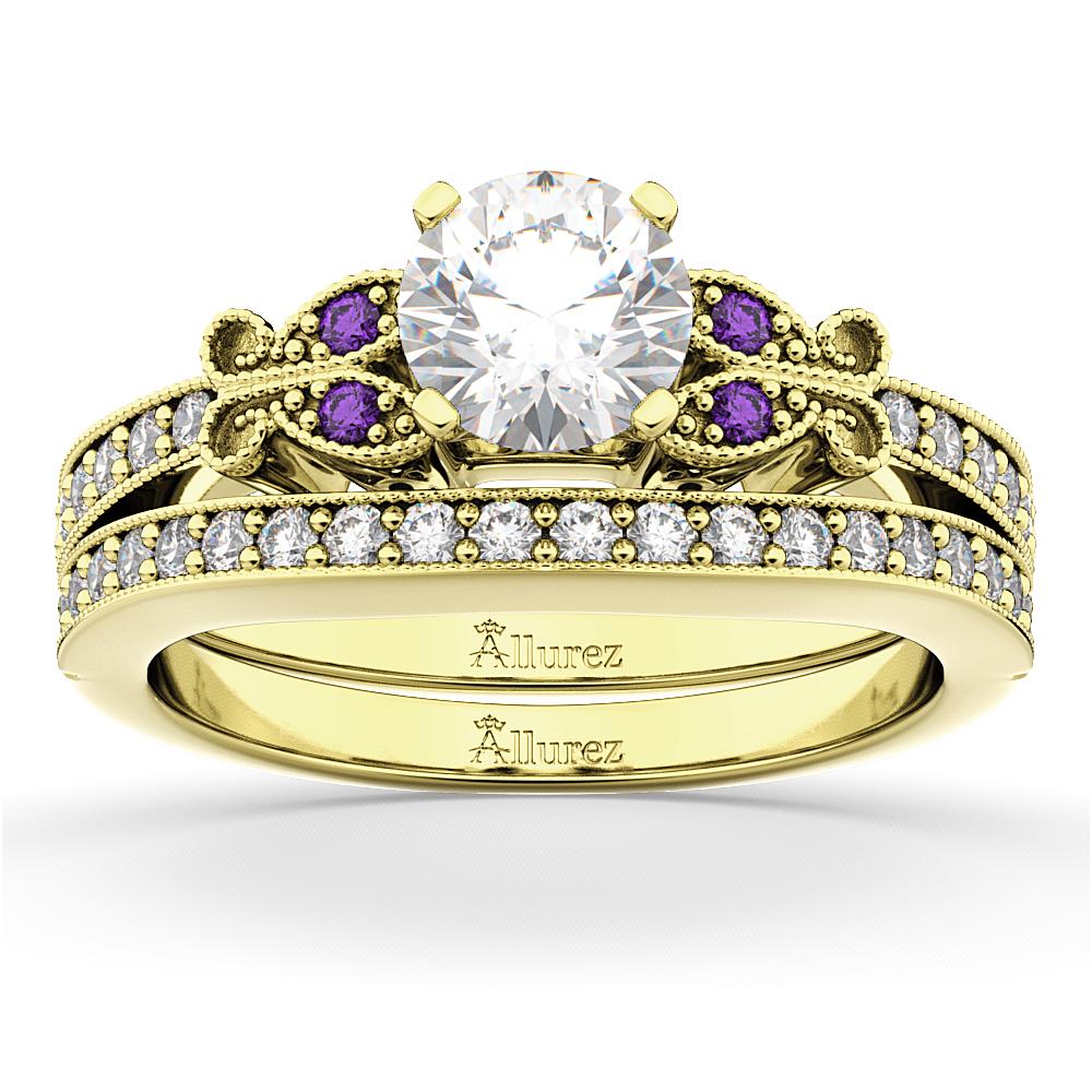 Butterfly Diamond & Amethyst Bridal Set 14k Yellow Gold (0.42ct)